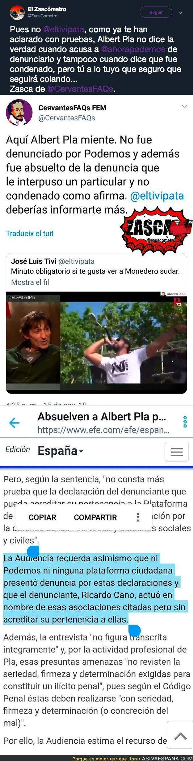 98139 - No es tan real lo que dijo Albert Pla sobre Podemos