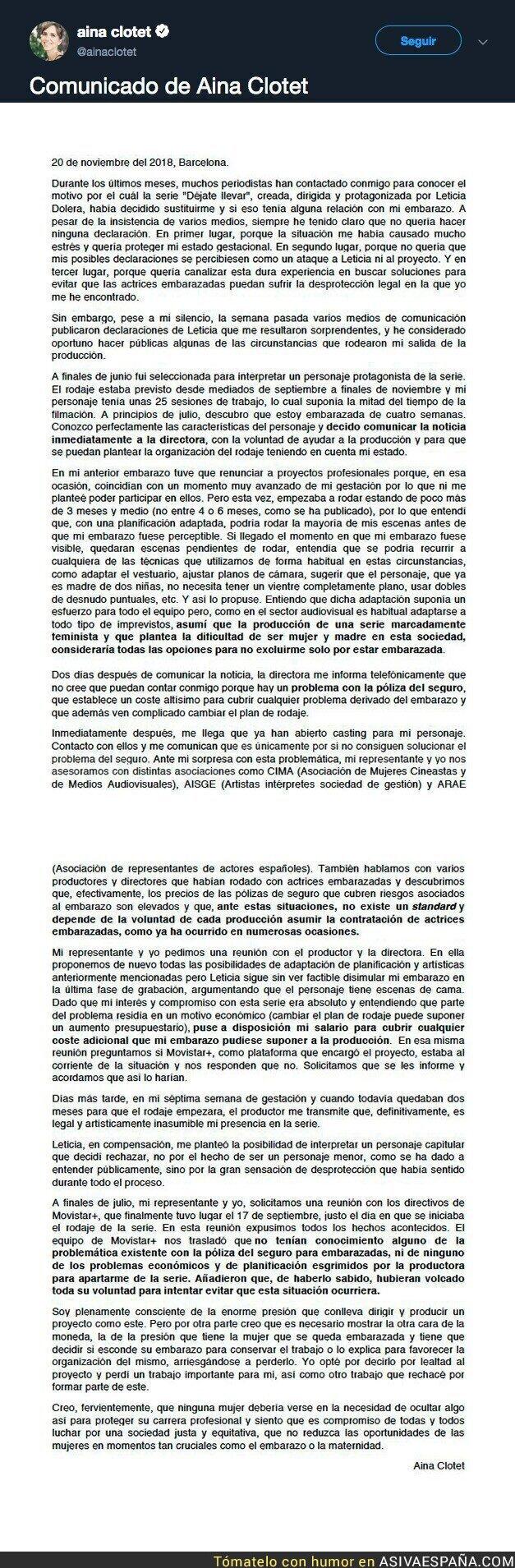 98425 - El comunicado de Aina Clotet en el que se rebela contra Leticia Dolera por echarla del trabajo al estar embarazada