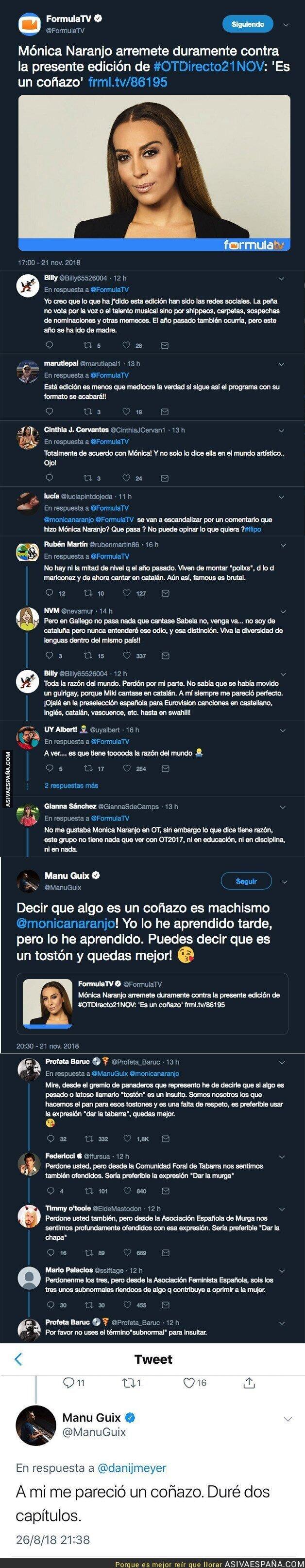 98612 - Mónica Naranjo salta a criticar a Operación Triunfo y Manu Guix sale a responder sin mucha suerte