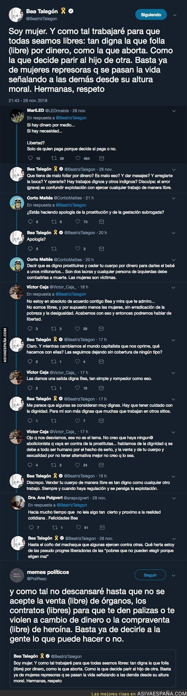 99168 - Lío monumental con este comentario de Beatriz Talegón a favor de la prostitución y los vientres de alquiler