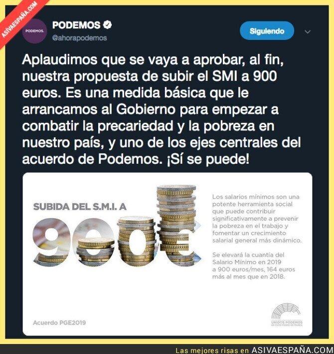 100257 - Sube el salario mínimo a 900€ gracias a Podemos y PSOE