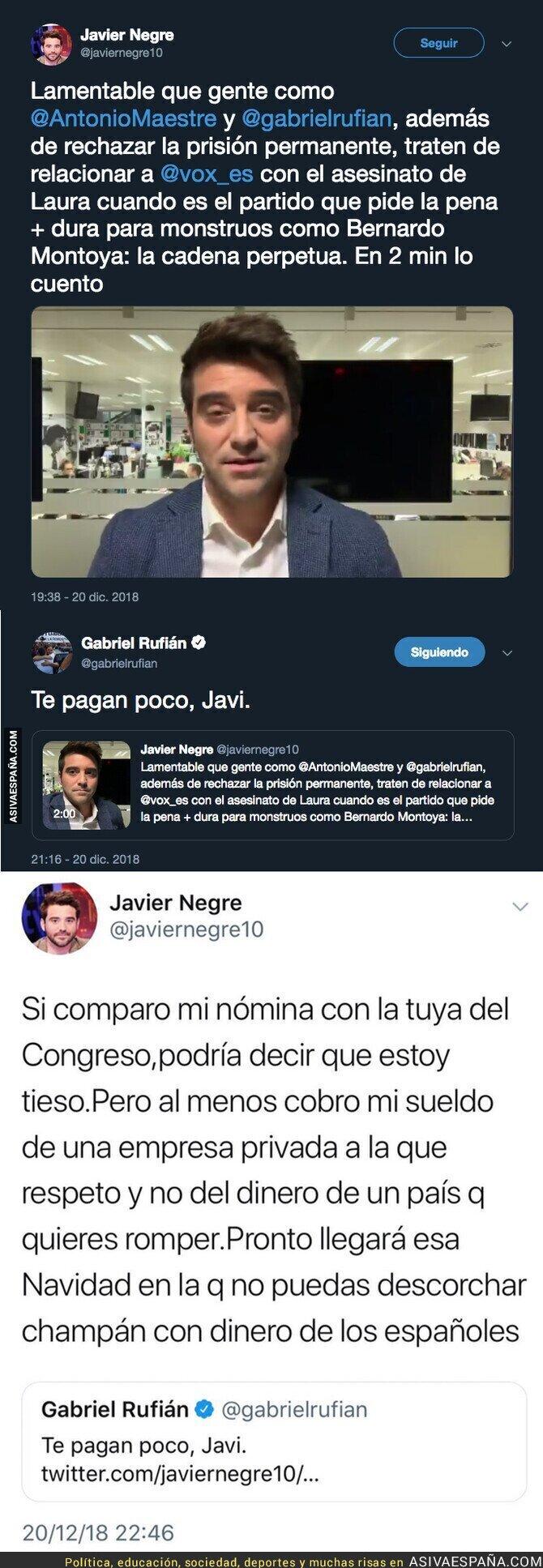 100949 - El periodista Javier Negre y Gabriel Rufián se enzarzan en Twitter tras la muerte de Laura Luelmo y el salario del de ERC en el Congreso