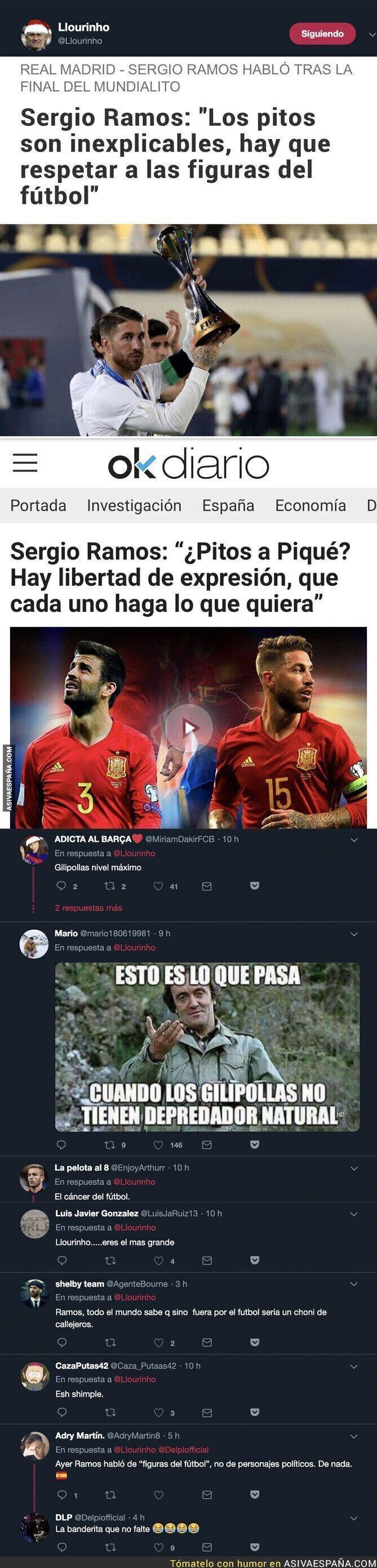 101098 - Sergio Ramos pide 'respeto' a los aficionados por pitarle en un campo de fútbol y esto decía cuando se lo hacían a Piqué