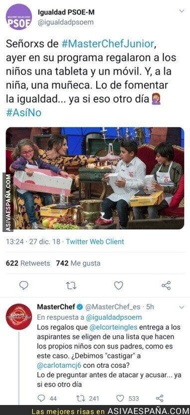 101395 - El PSOE en busca de la igualdad por los regalos a niños y niñas en Masterchef y hace el ridículo