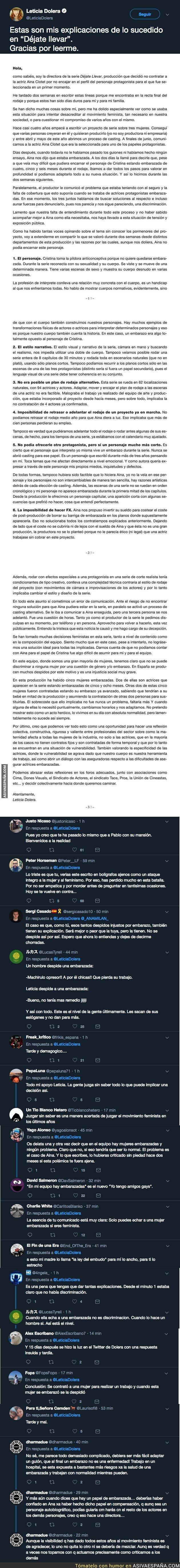 99647 - Leticia Dolera responde (días después) por echar a una actriz embarazada y todo Twitter le está respondiendo lo mismo