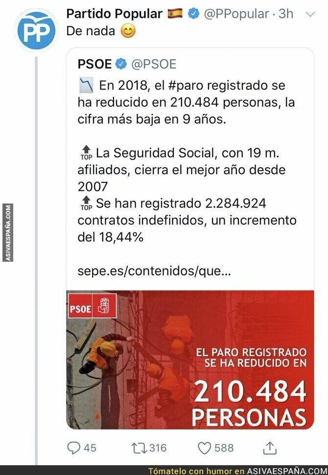 101803 - El PSOE saca pecho por los datos de paro en España y el PP responde con sutileza