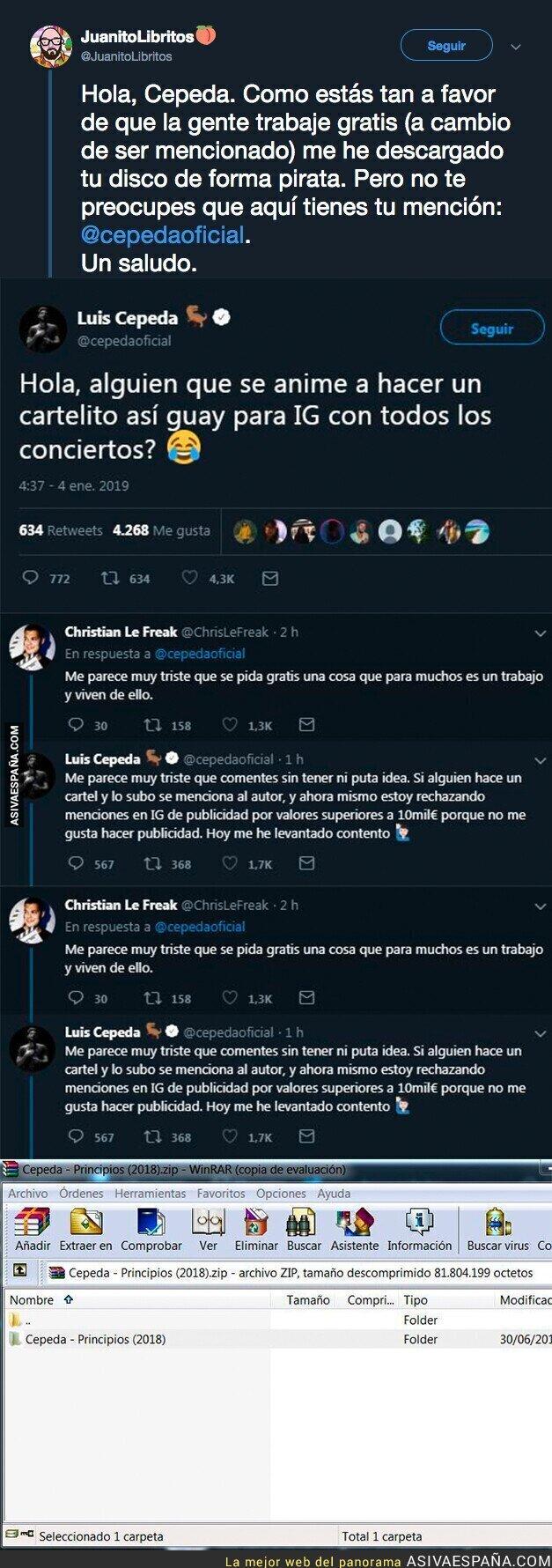 101987 - Cepeda pide en Twitter un cartel para su gira y recibe el hachazo más grande que se ha visto en muchos meses