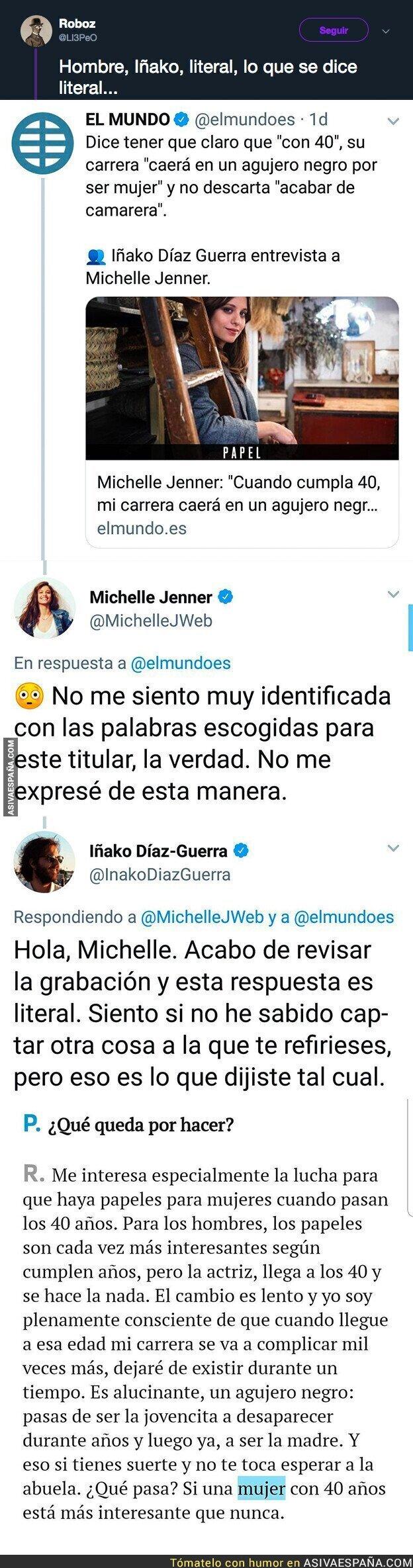 101999 - 'El Mundo' manipula sin descaro unas palabras sobre Michelle Jenner y se lo intentan desmentir en la cara