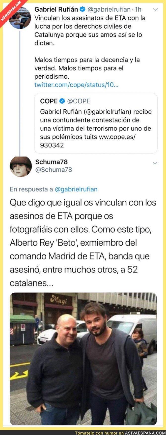 102052 - Gabriel Rufián llora porque les relacionan con ETA y se lleva una respuesta bien dolorosa