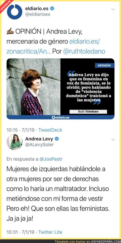102054 - Andrea Levy respondiendo a feministas de izquierdas