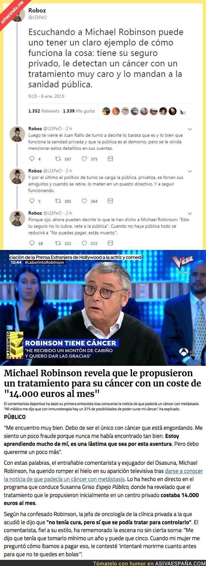 102128 - Michael Robinson habla sobre la sanidad privada y el seguro médico y el precio de su cáncer