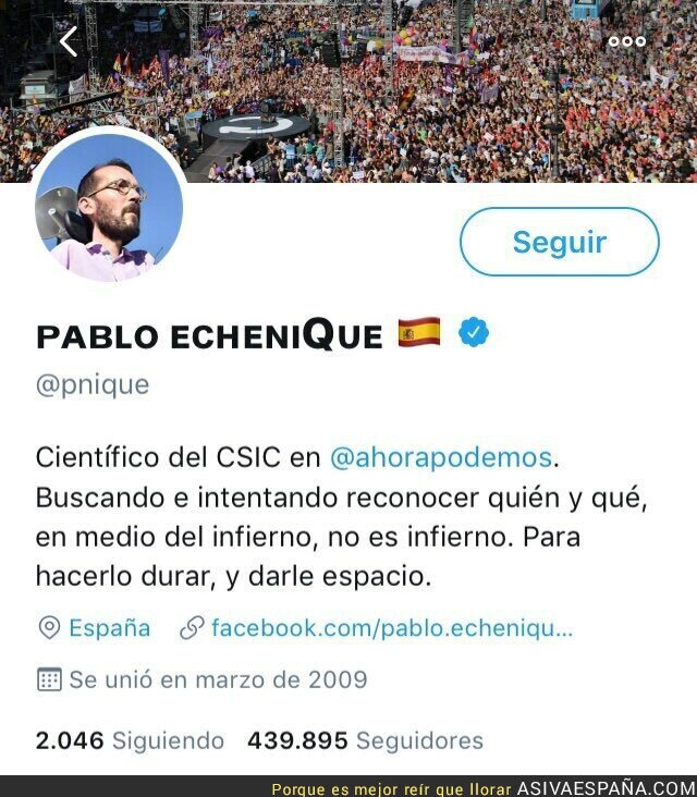 102404 - En Podemos están tan desesperados, que Echenique se ha puesto la bandera de España en su perfil