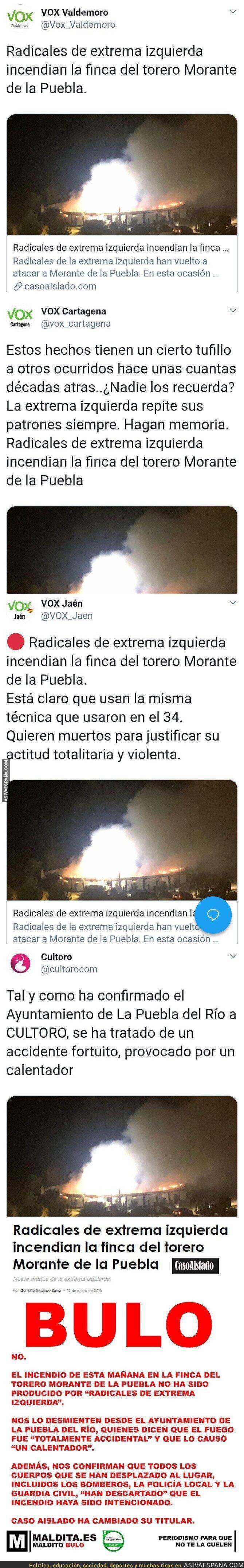102559 - La web 'Caso Aislado' se inventa que la casa de Morante de la Puebla ha sido incendiada por gente de extrema izquierda