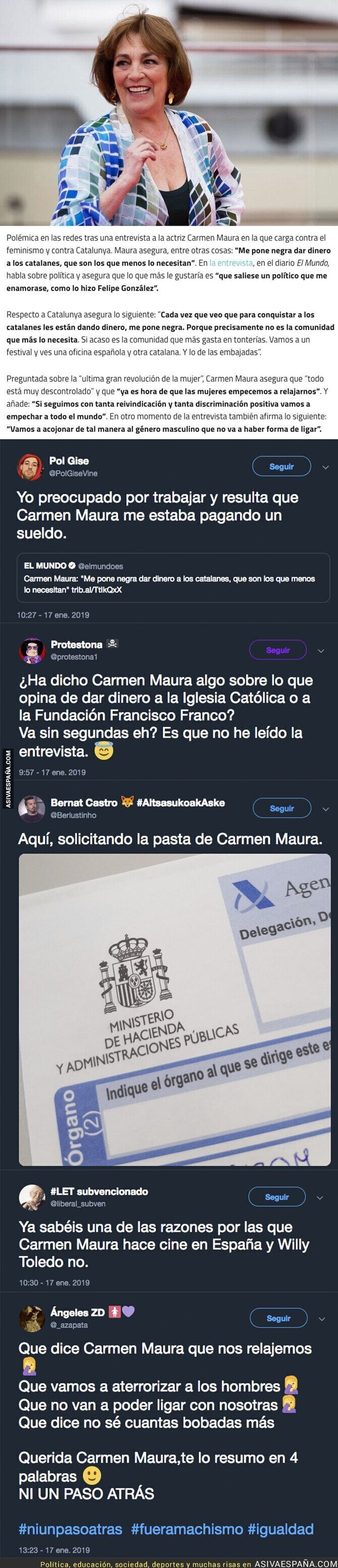 102844 - Carmen Maura carga contra los catalanes por el dinero que reciben y las feministas y todo se le vuelve en contra