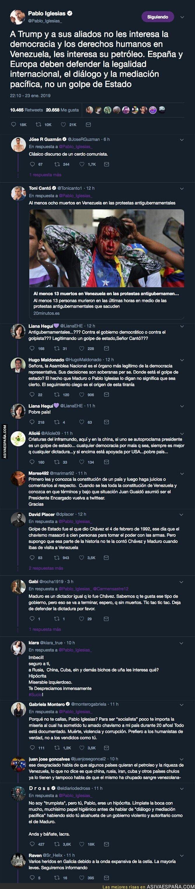 103250 - Pablo Iglesias denuncia un golpe de estado en Venezuela y todo Twitter se le echa encima