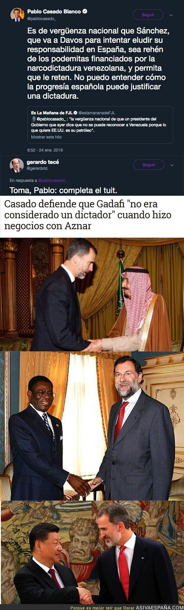 103339 - Pablo Casado ataca a Pedro Sánchez con Podemos por la situación de Venezuela y le responden duramente