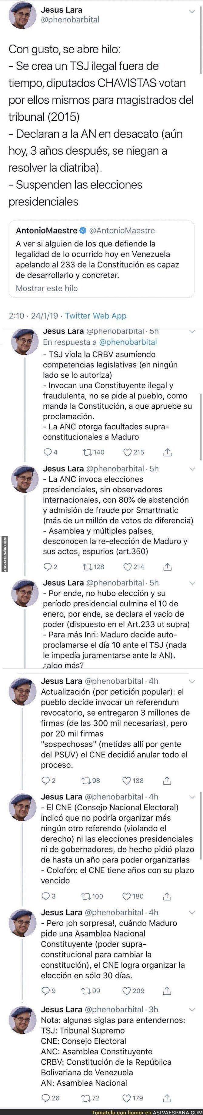 103352 - Antonio Maestre reta a alguien que le demuestre que lo de Venezuela y su nuevo presidente es legal y le dejan retratado