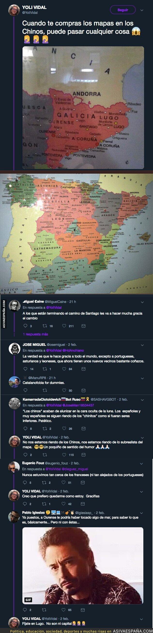 103907 - El mapa que se ha comprado esta mujer y que se ha hecho viral por situar a Galicia en Catalunya
