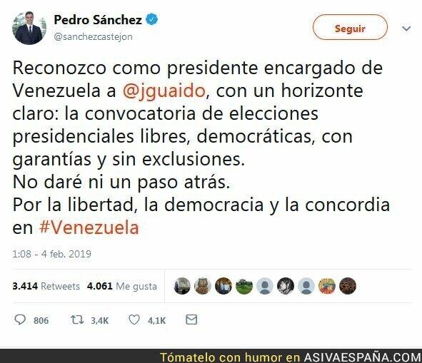 103917 - Pedro Sánchez reconoce a Juan Guaidó como presidente de Venezuela