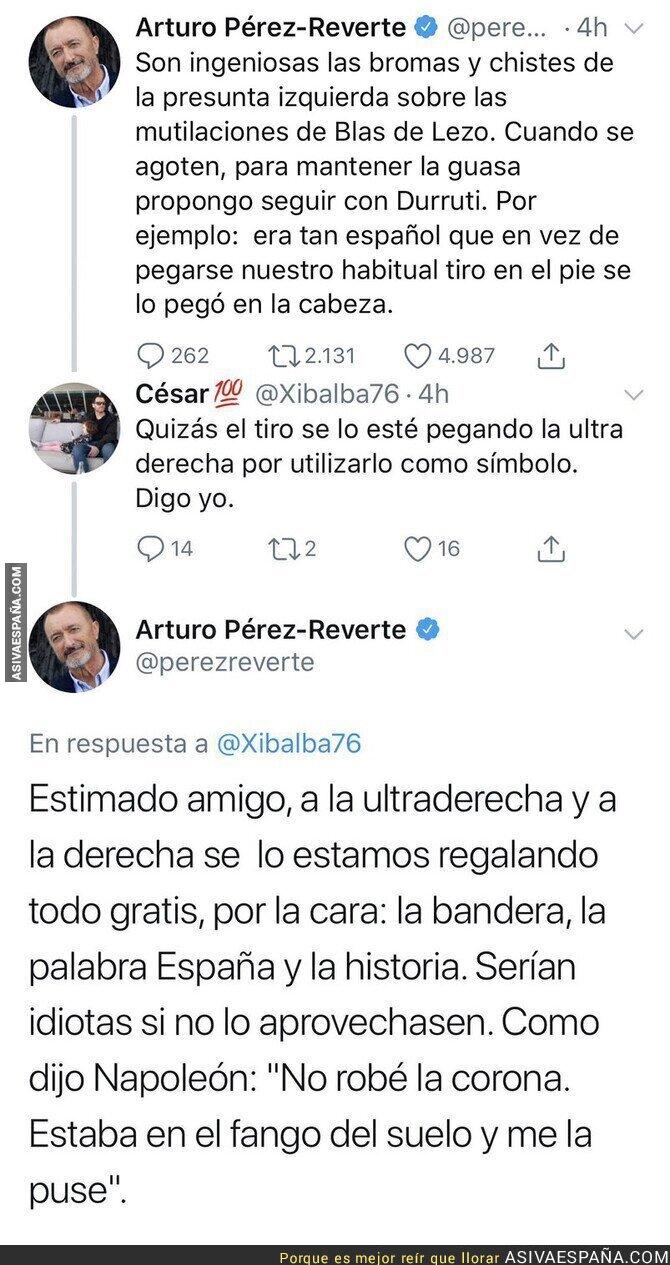 104143 - Arturo Pérez-Reverte carga contra la 'presunta izquierda' y las bromas a Blas de Lezo y le pega una respuestaza a un tuitero