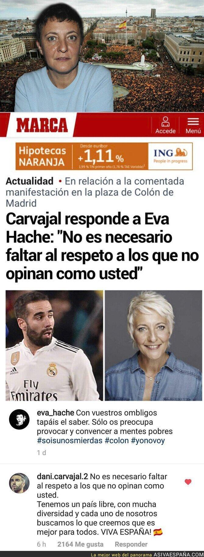 """104411 - El brutal zasca de Dani Carvajal a Eva Hache por llamar """"mierdas"""" a los españoles que se manifestaron en Colón"""