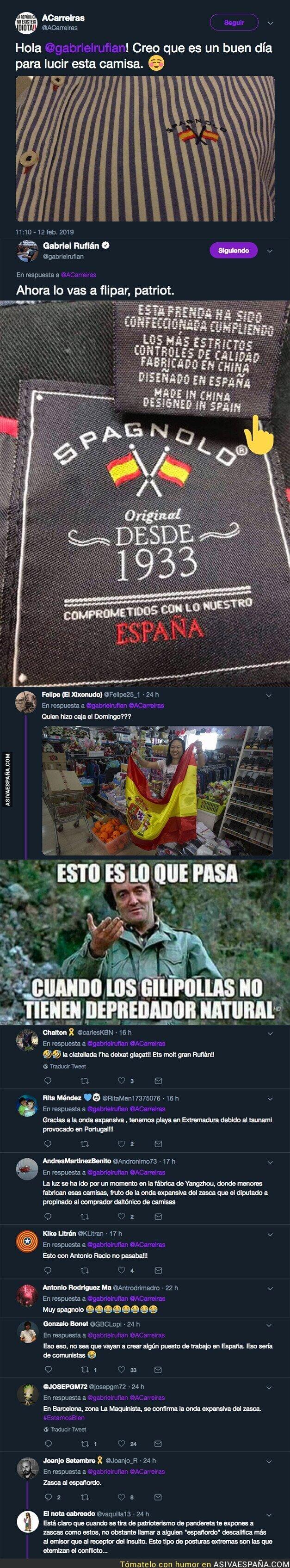 104502 - Un tipo le manda esta foto todo orgulloso con su camisa de marca 'Spagnolo' a Gabriel Rufián y su respuesta es apoteósica