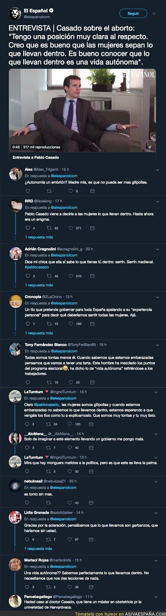 105255 - Pablo Casado opina del aborto con una frase muy polémica y todo el mundo le está respondiendo dándole de 'h*stias'