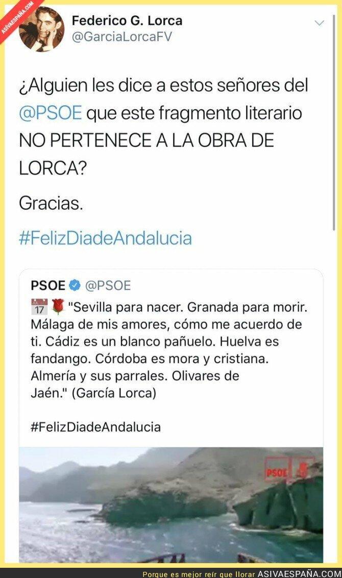 105587 - Boom: Una cuenta sobre Lorca desmintiendo al PSOE sobre una falsa cita a Lorca