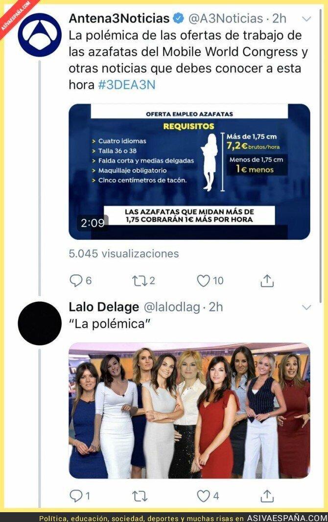 105594 - Antena 3 Noticias intenta crear una polémica con las azafatas del Mobile World Congress y esto es lo que pasa cuando haces exactamente lo mismo