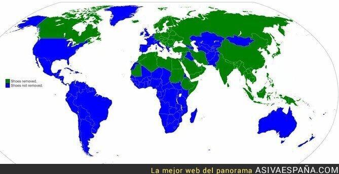 105809 - El mapa de los países que se quitan o no los zapatos al entrar en casa