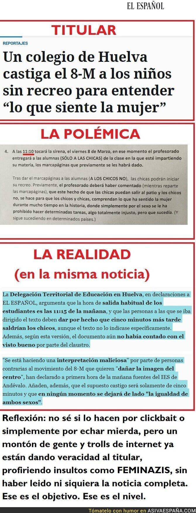 106042 - NO, ningún niño será castigado sin recreo en Huelva el día de la mujer. Fake News es tres actos en el digital de Pedro J. Ramírez.
