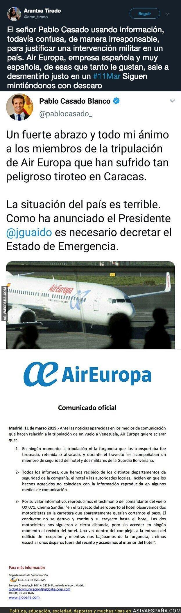 106449 - Pablo Casado miente descaradamente sobre Venezuela usando fuentes de Juan Guaidó que ha desmentido la propia Air Europa