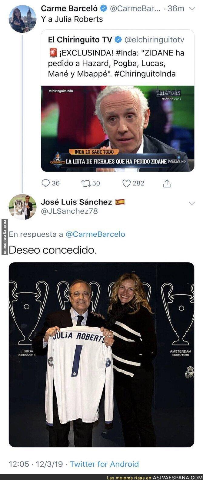 106609 - Carme Barceló intenta reírse de José Luis Sánchez por los fichajes de Zidane y se lleva una respuesta inesperada