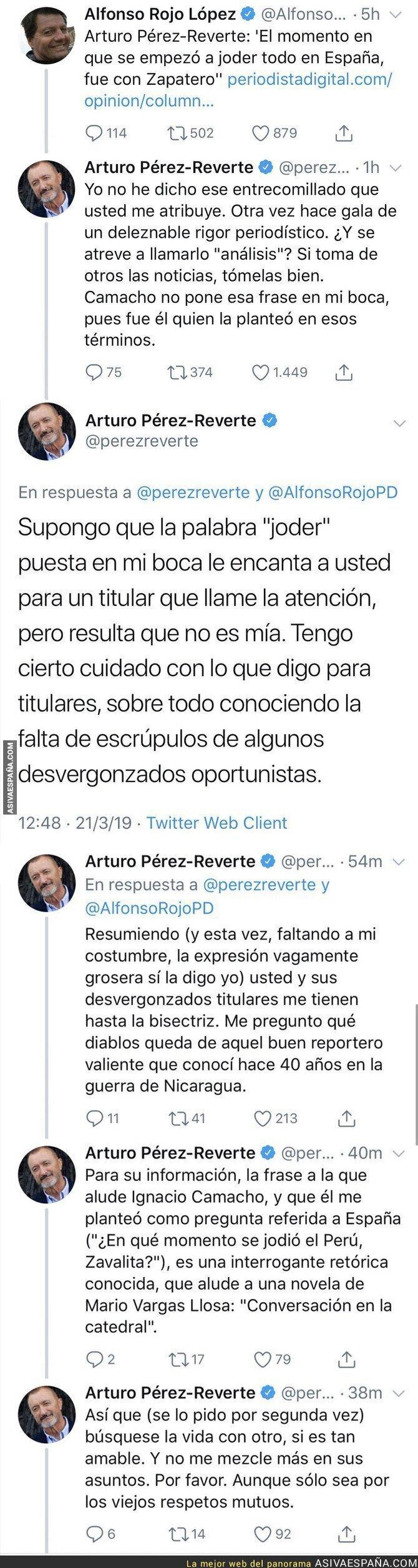 107180 - Arturo Pérez-Reverte le da un repaso monumental a Alfonso Rojo tras hacer esta noticia sobre él