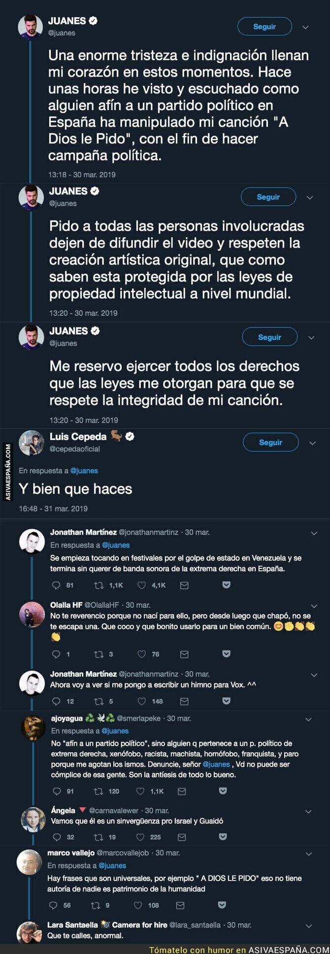 107829 - Juanes le da un gran revés a VOX por intentar usar su canción