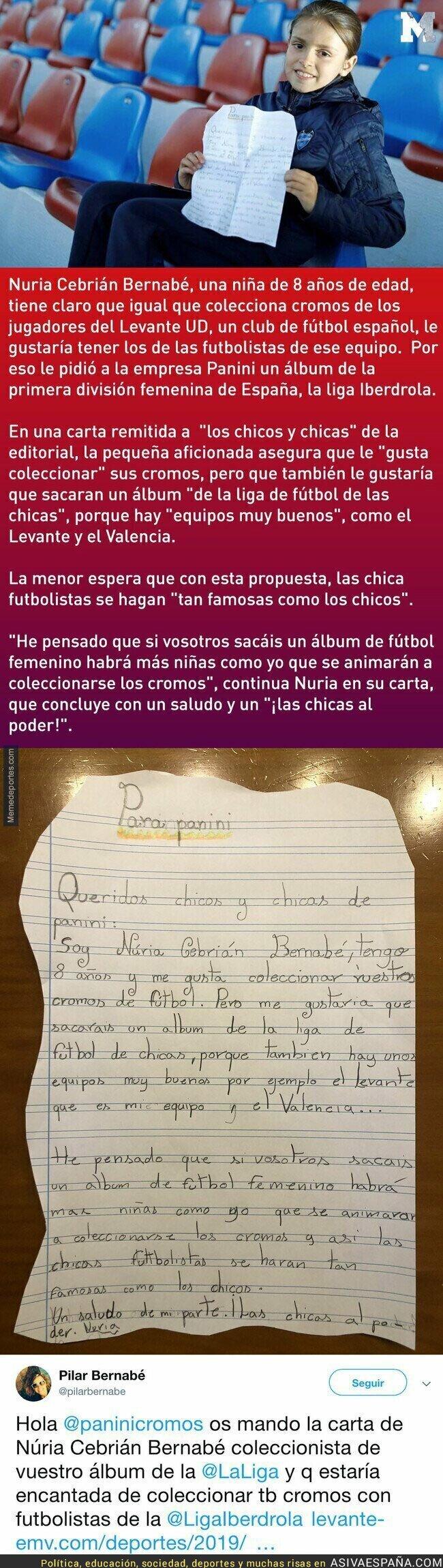 107968 - Una carta para Panini de esta niña que quiere coleccionar los cromos de la Liga Femenina