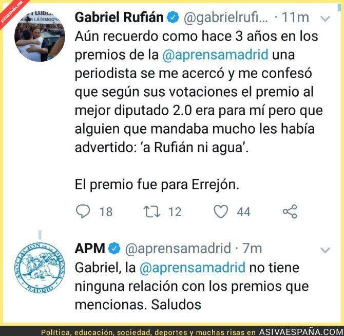 108144 - Gabriel Rufián sale a llorar por un premio de la Asociación de la Prensa de Madrid y ellos le dan un gran revés