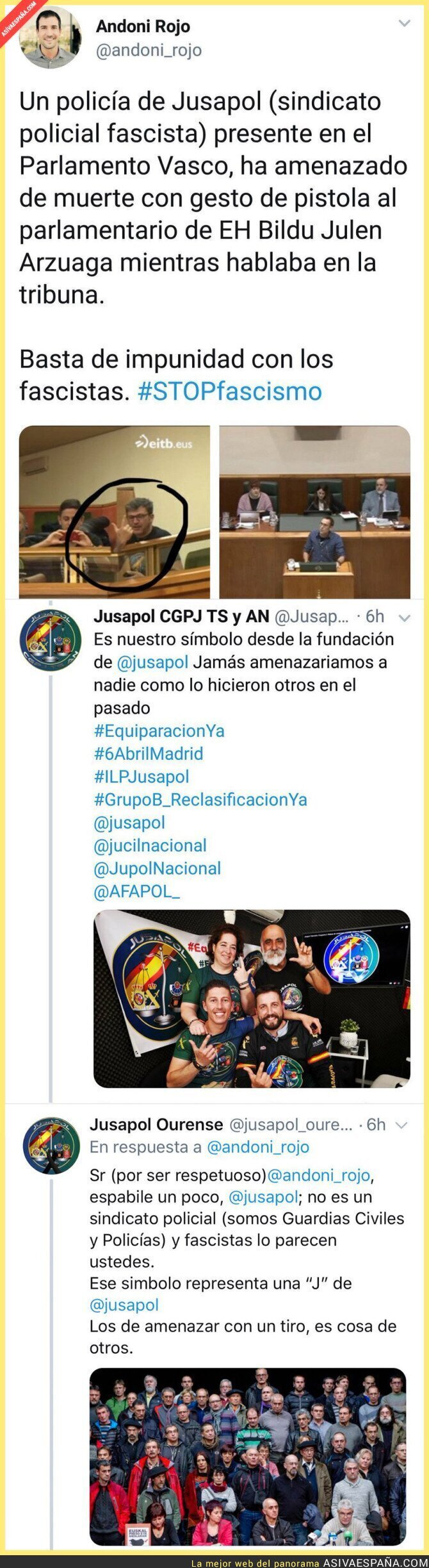 108222 - Intentan hacer creer que miembros de Jusapol amenazan con el símbolo de una pistola en el Parlamento Vasco y la historia es diferente