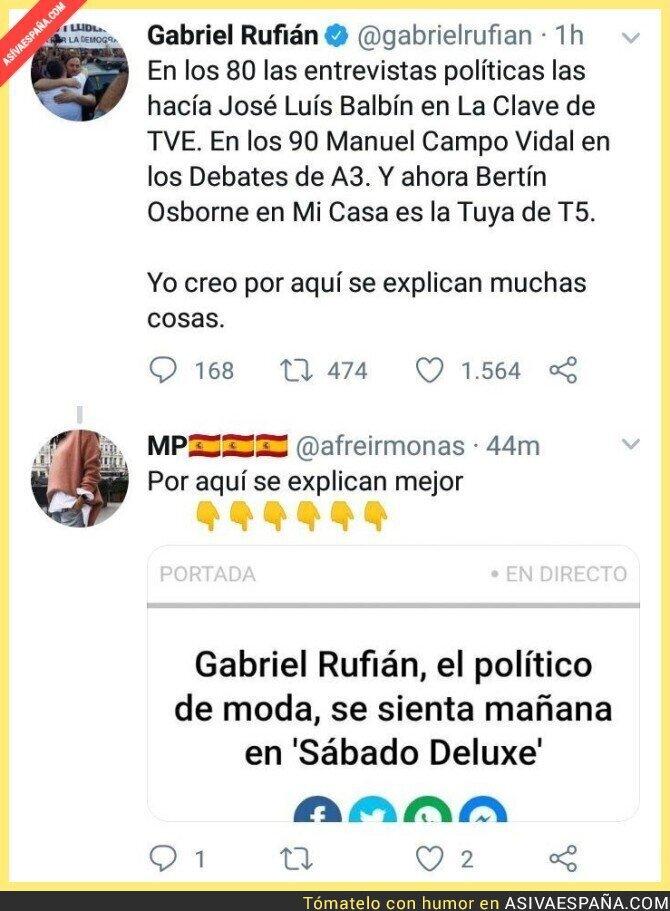108450 - La entrevista a políticos ha cambiado mucho pero Gabriel Rufián no es el más indicado para dar lecciones