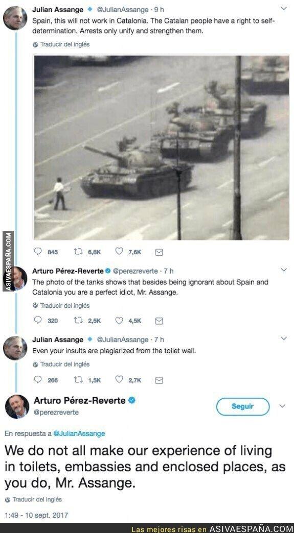 108924 - Imposible olvidar esta respuestaza de Arturo Pérez-Reverte a Julian Assange durante el 'procés'