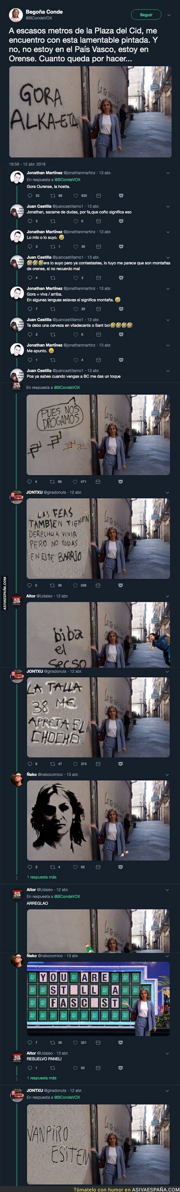 109146 - La candidata de Vox que confundió una pintada humorística con un mensaje proetarra y Twitter se mofó de ella