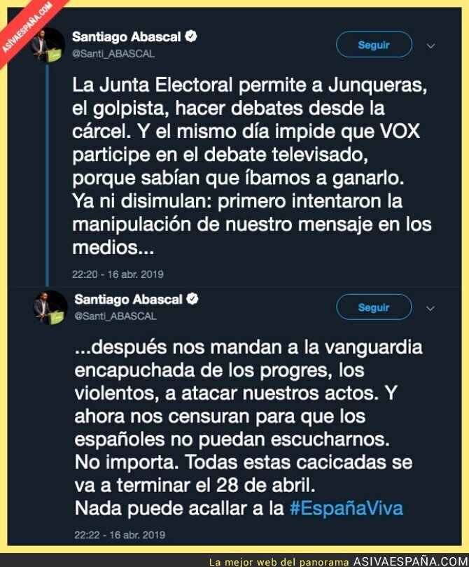 109286 - Santiago Abascal (VOX) denuncia su expulsión del debate electoral