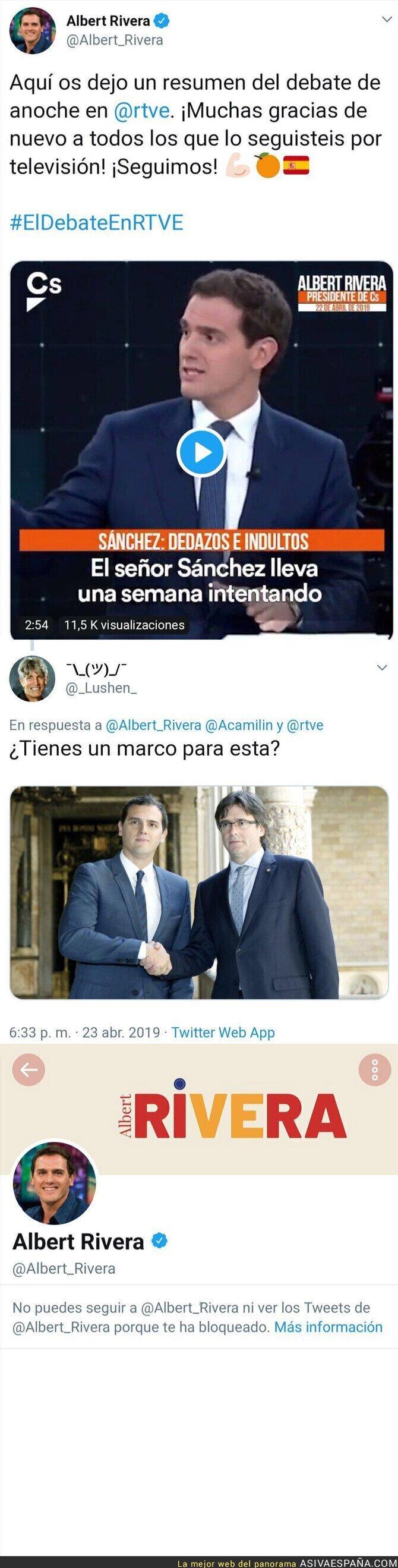 110231 - Esto es lo que le ha hecho Albert Rivera a un usuario de Twitter al recordarle que él tiene foto con Carles Puigdemont