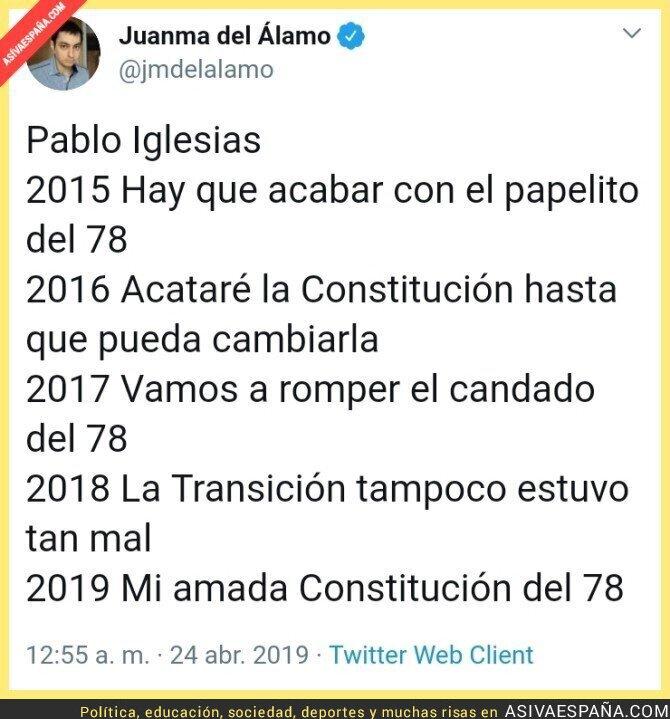 110288 - Cronología de la conversión constitucional de Pablo Iglesias