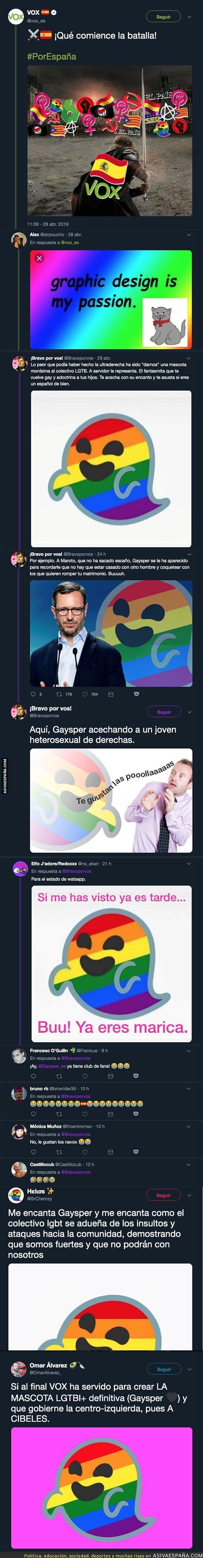 110950 - VOX amenaza al colectivo LGTBI y a partir de las elecciones convierten a 'Gaysper' en su nueva mascota