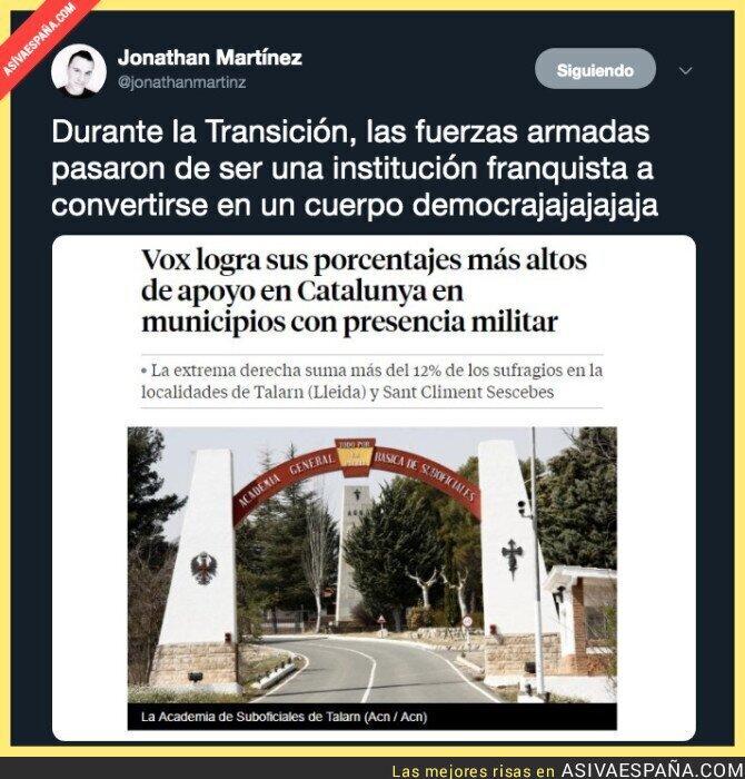 111107 - Un dato bien curioso sobre los votos que recibió VOX en territorio militar en Catalunya