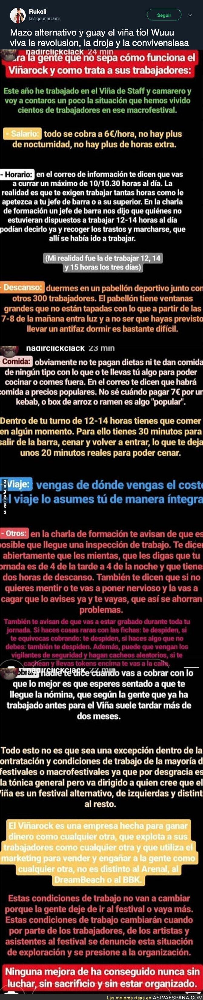 111393 - Las lamentables condiciones laborales que tienen todos los trabajadores en el Viñarock