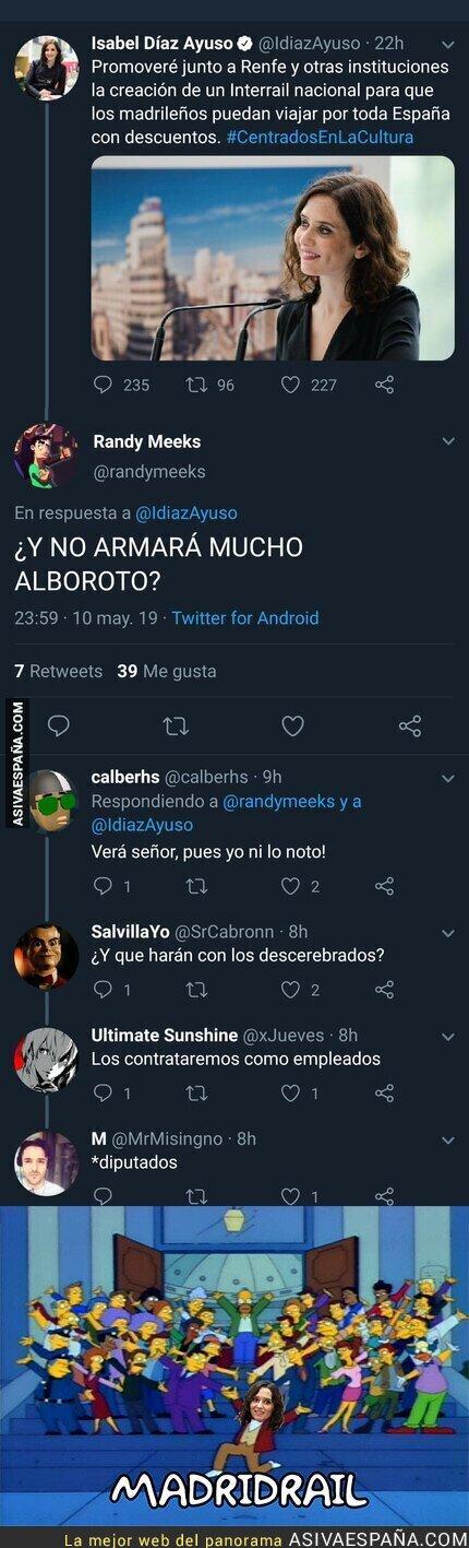 112105 - Isabel Díaz Ayuso anuncia su medida estrella de un tren para madrileños y Twitter responde con genialidad
