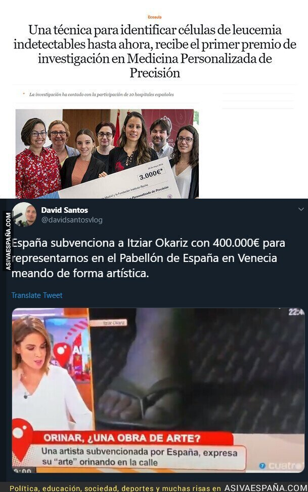 112605 - 3.000€ vs 400.000€, ambos premios entregados por el gobierno