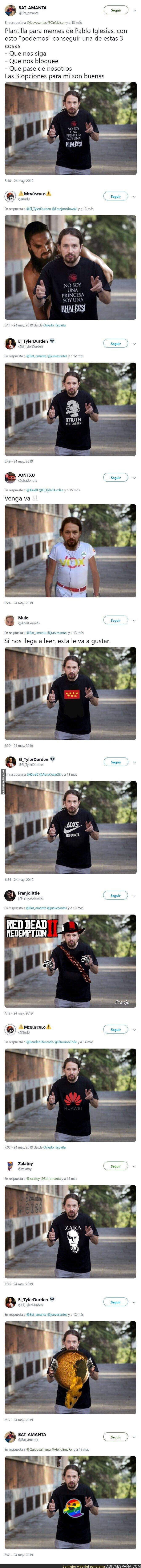 112960 - Tanda de chops con la camiseta de Pablo Iglesias